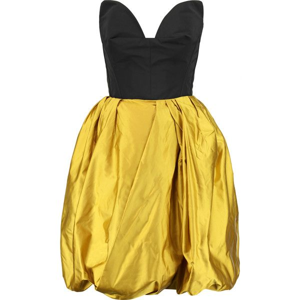 Oscar de la Renta Poplin and silk-satin mini dress (119.395 RUB) ❤ liked on Polyvore featuring dresses, saffron, yellow fitted dress, fitted dresses, cut out dresses, mini dress and bow dress