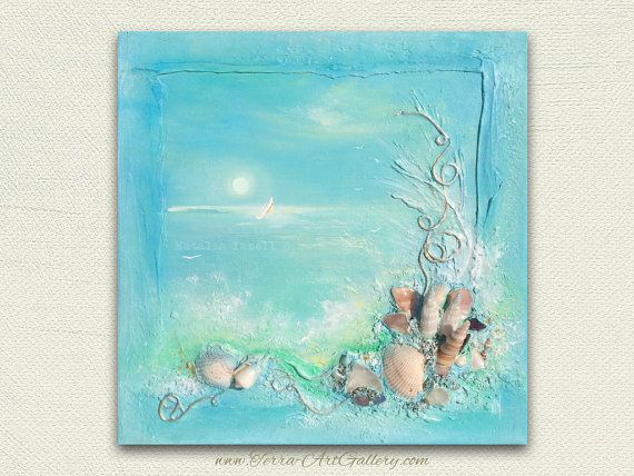 Home decor jagen dromen/origineel acryl Mixed Media, strand / nautische 3d / schelpen, Oceaan, Golf, abstract
