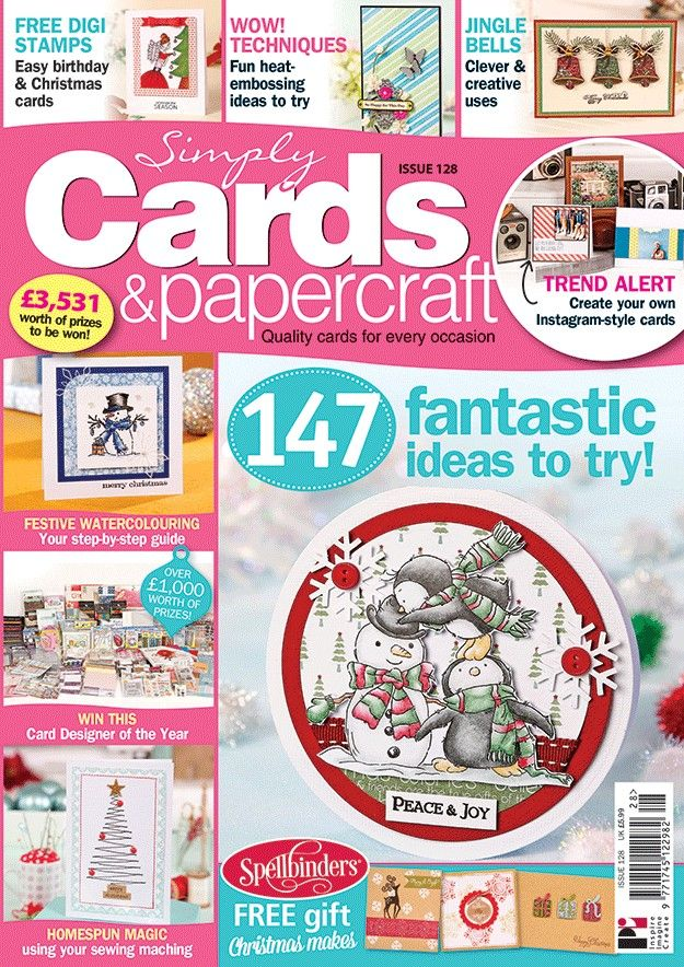 Simply Cards & Papercraft 128 with a FREE Spellbinders stamp set & embossing folder