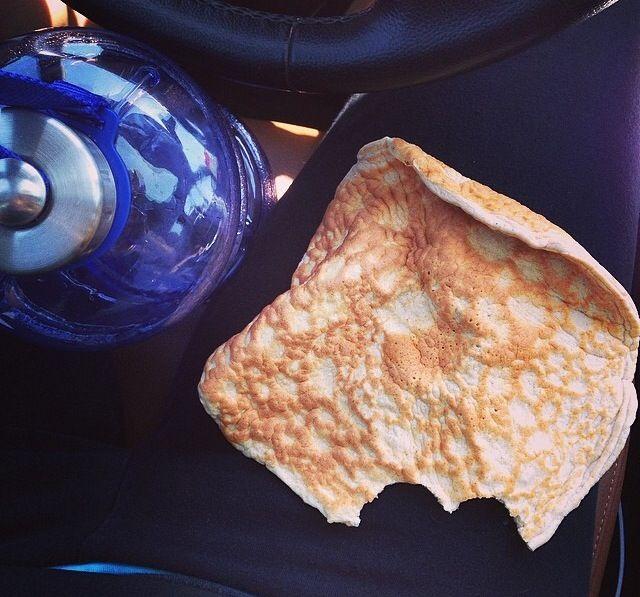 """2 ingredient """"giant pancake"""" (recipe credit: jazzythings). Recipe: -3 egg whites -1/2 scoop protein"""