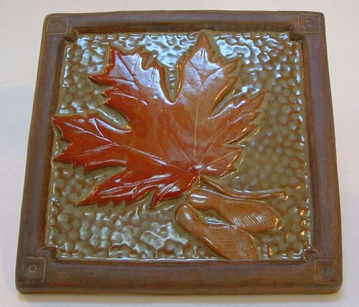"6"" Maple Leaf Tile for fireplace and kitchen/with green and red & gold glaze. Craftsman/Canadian/Mission/Bungalow/Arts and Crafts/ Woodland by FayJonesDayTile on Etsy"