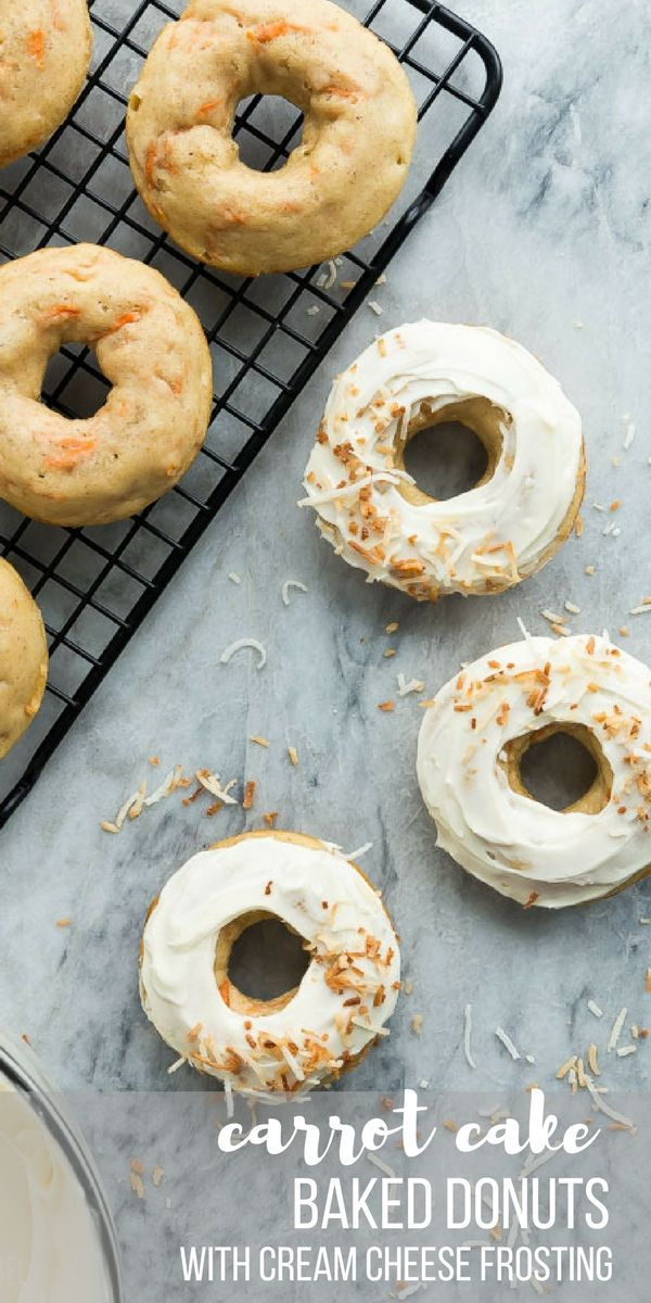 These Carrot Cake Baked Donuts with Cream Cheese Frosting are an easy donut recipe that is perfect for Easter brunch or a Spring party! Perfectly moist and slathered in a tangy cream cheese frosting. The best way to get your vegetables! #easter #spring #donuts #donut #dessert #baking