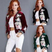 Wish   Ladies Cardigan Satin Tiger Embroidered Bomber Jacket Womens Baseball Coat Tops