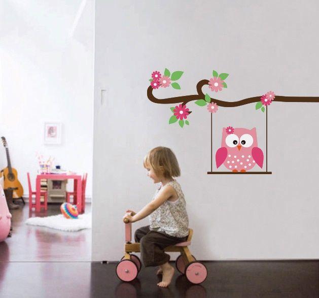 Exclusive muursticker uiltje op schommel muurstickers babykamer kinderkamer baby room - Kinderkamer taupe ...