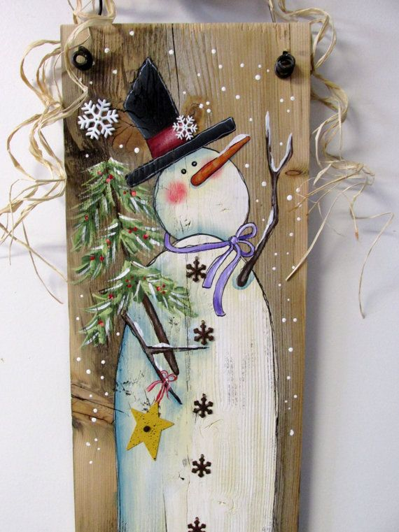Reclaimed Barn Wood with Hand Painted Snowman Winter Scene