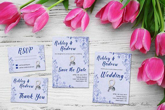 Custom Vintage Blue,  Wedding Printable Suite, RSVP, Thank You, Wedding Invite, Fabric lookalike