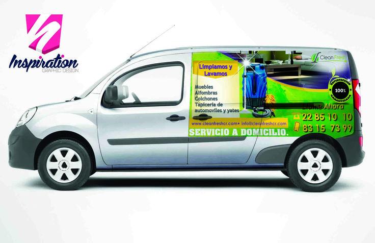 Diseño e impresión para automóvil de empresa de limpieza de muebles Clean Fresh