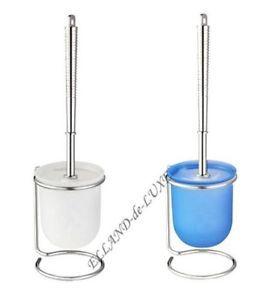 a conjunto para wc blanco azul wenko plastico cromado sistema de cepillo