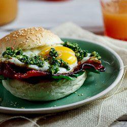 Bacon & Egg rolls with almond & chilli Pesto