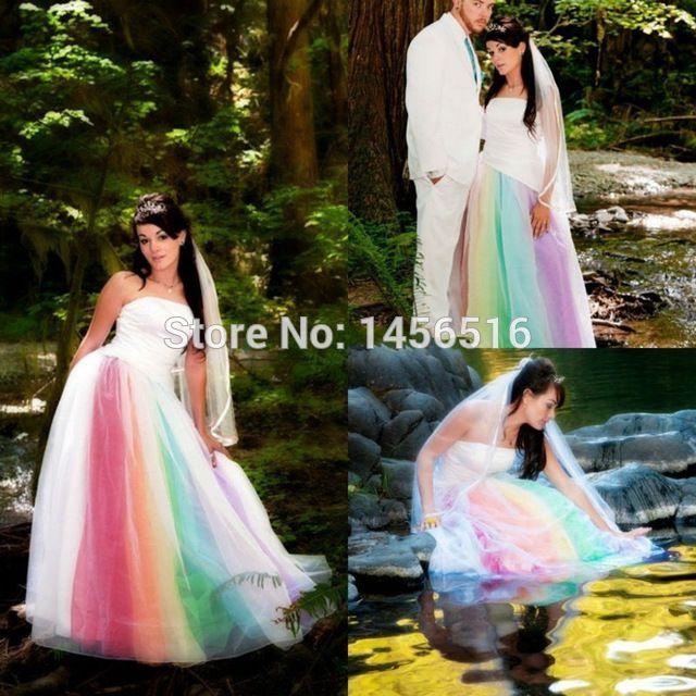 Vestidos デ noiva 2016色レインボー ゴシック屋外ウェディング ドレス ストラップレス緑紫青ブライダルドレスレースアップ 03047 ワット