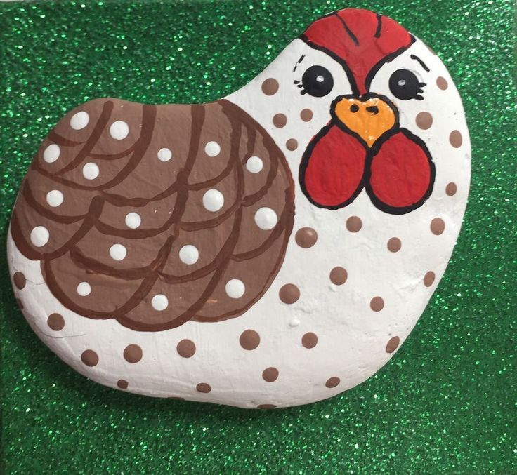 Original Adorable Speckled Hen Rock Painting By Barbi
