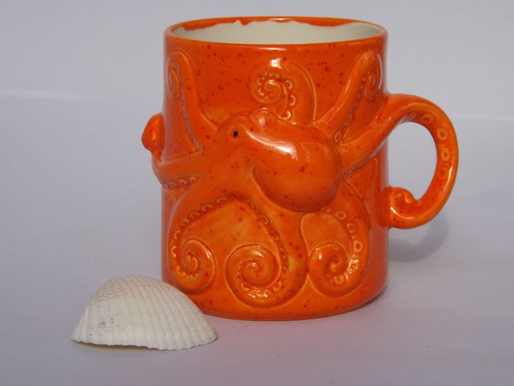 Orange Octopus Squid Tentacles Mug Handmade Ceramic from my Charleston, SC Studio by CreativityHappens on Etsy https://www.etsy.com/listing/235568902/orange-octopus-squid-tentacles-mug