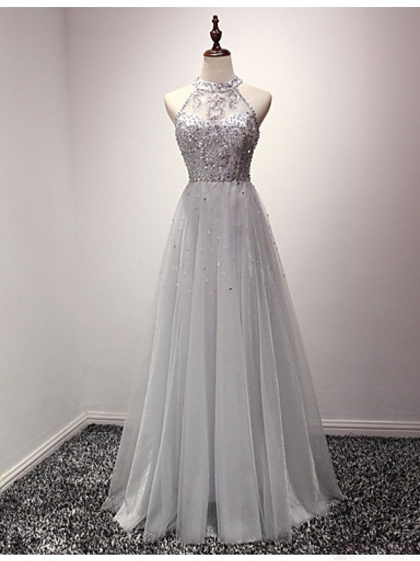 beautiful halter prom dress, long tulle evening dress,#promdresses #SIMIBridal
