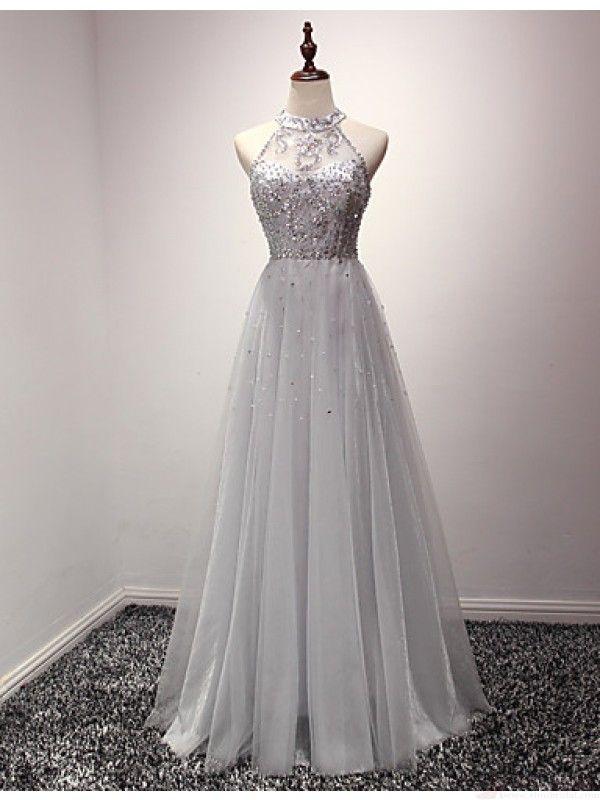 beautiful halter prom dress, long tulle evening dress,#promdresses #SIMIBridal