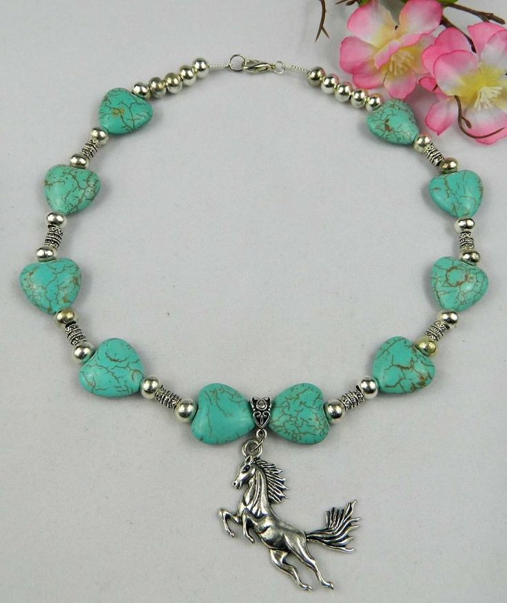 HORSE JEWELLERY NECKLACE BLUE TURQUOISE HEART GEMSTONES BRAND NEW