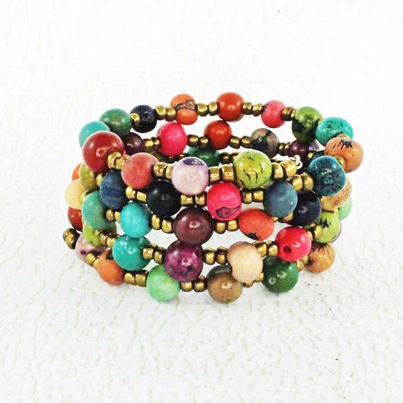 Colorful Bracelet  Memory Wire Bracelet  made with Eco
