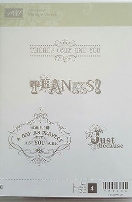 Stampin-039-Up-VINTAGE-VERSES-4-pc-Clear-Mount-Rubber-Stamp-Set