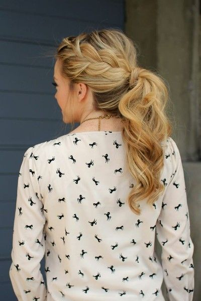 Thick Side French Braid Pony - 101 Braid Ideas That Will Save Your Bad Hair Day (Photos)