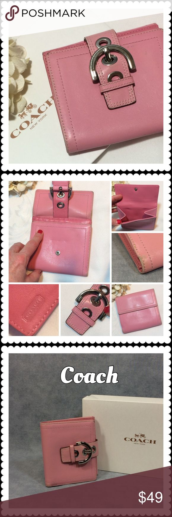 👜 Coach Pink Leather Tri-fold Wallet 👜 Coach Pink Leather Tri-fold Wallet 👜 Excellent Used Condition. Great leather wallet in light pink exterior, darker pink interior leather. Space for 10 cards, 2 large cash pockets, 1 outer snap pocket. Slightest of fading on the outside and minor edge wear. (See photos) Asking price purchase comes with Coach box. Authentic. Coach Bags Wallets