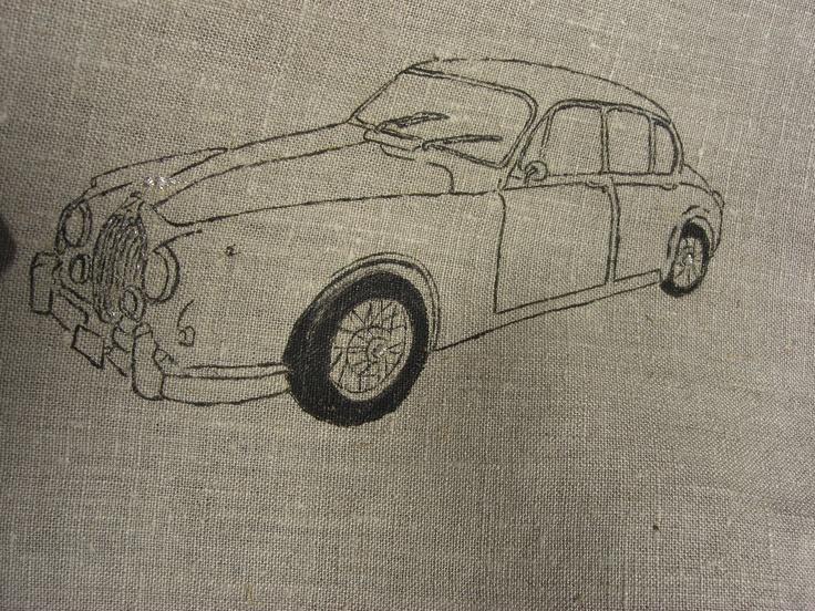 Detail of Jaguar. Handpainted on linen.