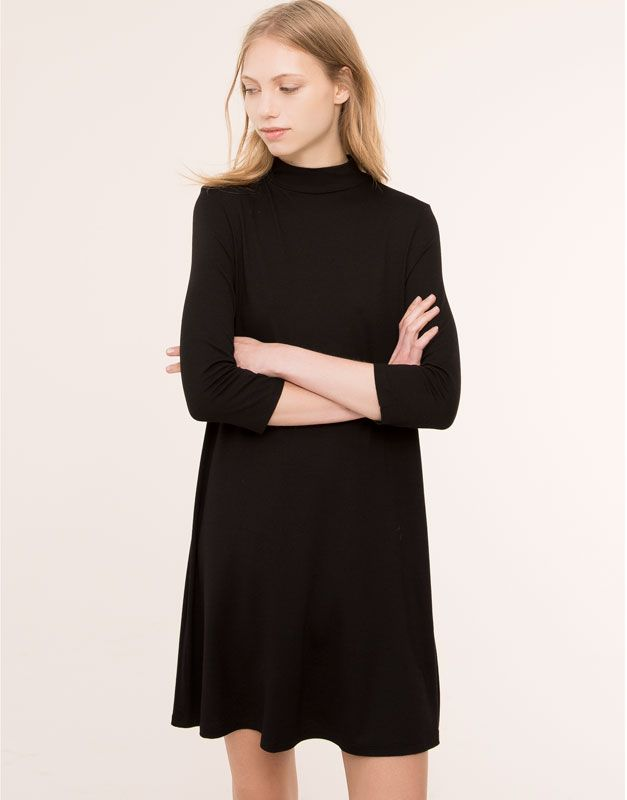 Pull&Bear - для женщин - платья - платье с высоким воротником однотонное - черный - 05390306-I2015