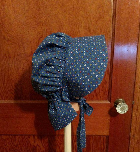 Ladies pioneer bonnet, blue calico- https://www.etsy.com/listing/255717650/ladies-blue-calico-pioneer-bonnet