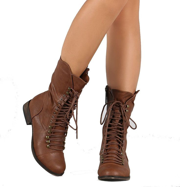 Combat Lace Up Mid Calf Boots Women's Vegan Leatherette Booties *** Check this awesome product by going to the link at the image.