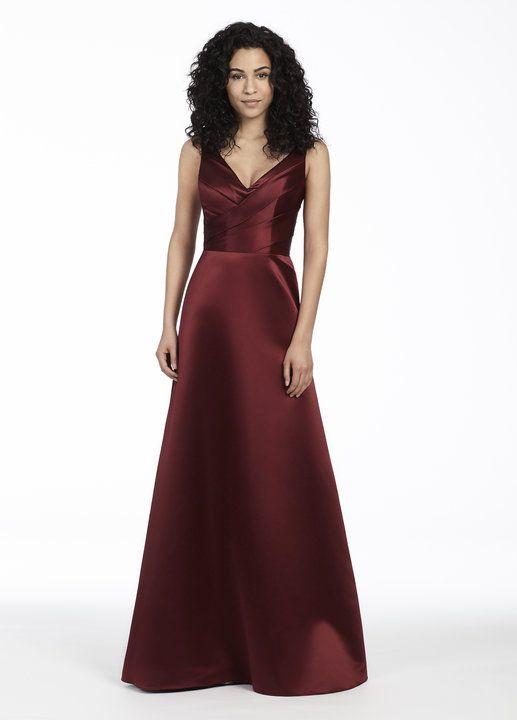Style 5753 | Burgundy Satin A-line bridesmaid gown, asymmetrical draped V-neckline, natural waist.