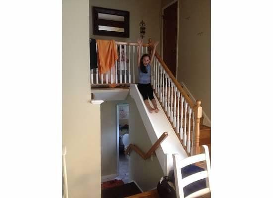 indoor slide, DIY slide, indoor fun, keeping kids busy, big family, big fun