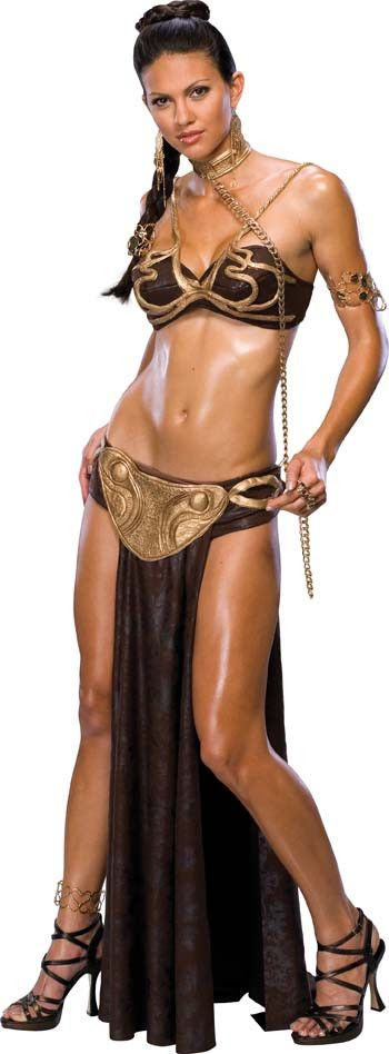You can be Jabba the Hutt's sexy slave! Tops, briefs with skirt, belt, choker with chain, and headpiece with comb. Womens extra small fits sizes 0-2.