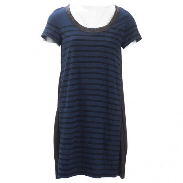 Pre-owned Sacai Luck Mini Dress (220 CAD) ❤ liked on Polyvore featuring dresses, navy, women clothing dresses, striped mini dress, navy short dress, navy blue short dress, navy blue striped dresses and stripe dresses
