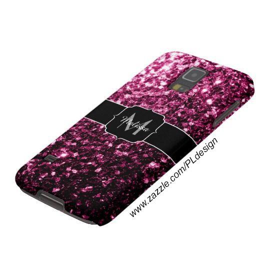 Beautiful Pink glitter sparkles Monogram Samsung Galaxy S5 Case by #PLdesign #sparkles #PinkSparkles #SparklesCase