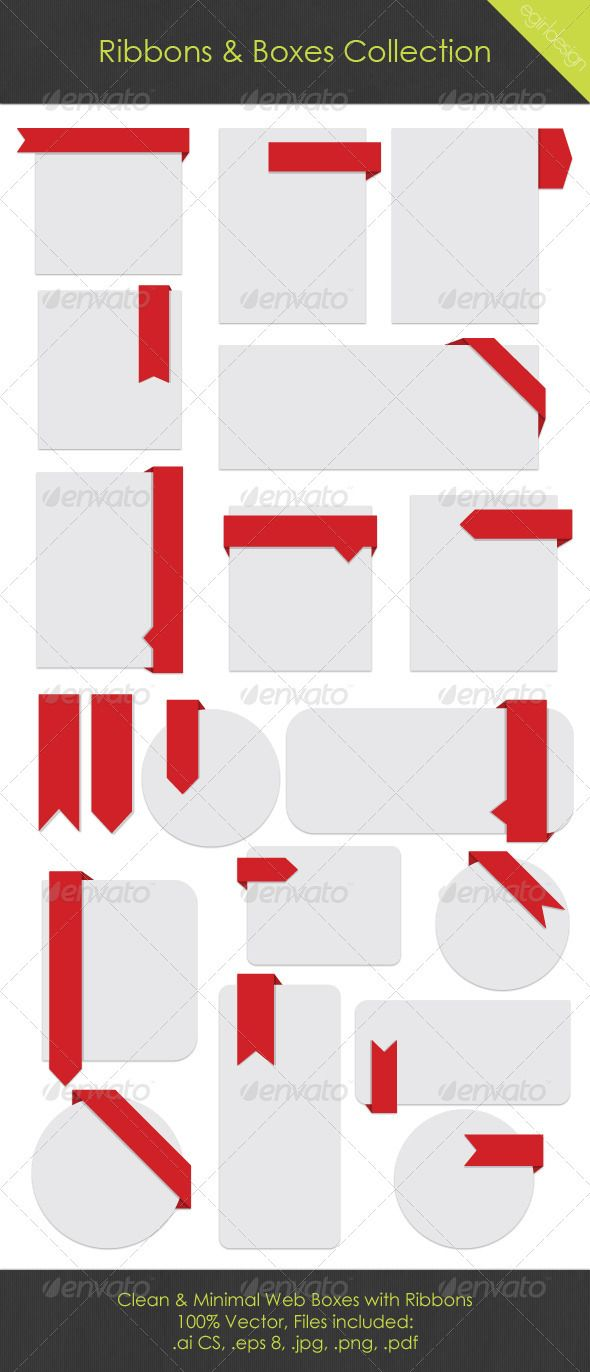 Web Boxes & Ribbons Collection by Tracie Andrews #webboxes #ribbon #Shutterstock  #vector #ai #eps