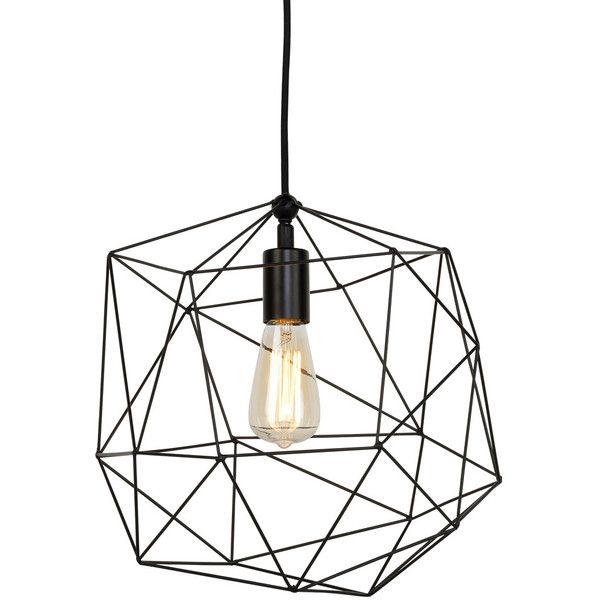 It's About RoMi Copenhagen Hanging Lamp ($180) ❤ liked on Polyvore featuring home, lighting, ceiling lights, black, black hanging lights, rose lights, onyx lamp, filament lighting and geometric pendant light