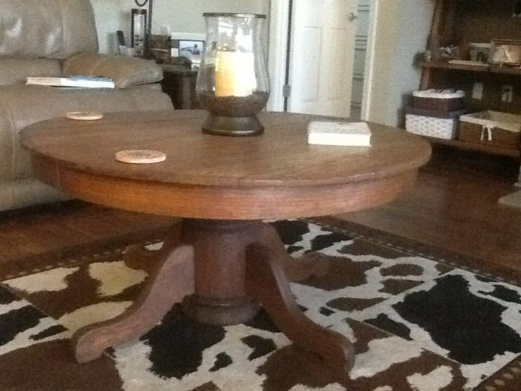 Oak Pedestal Dining Table Turned Coffee Table Made It Pinterest Coffee Tables Dining