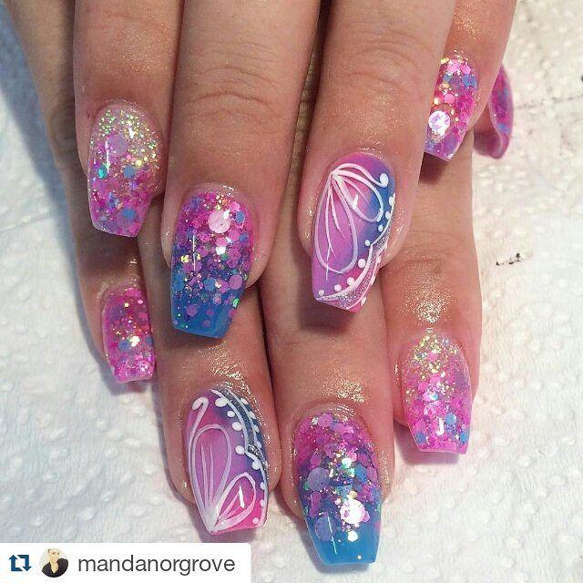 394 best Glitter Nail Designs images on Pinterest | Glitter nails ...