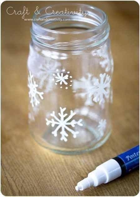 DIY snow flake jar. Use for Christmas cookies, candles or whatever you like.