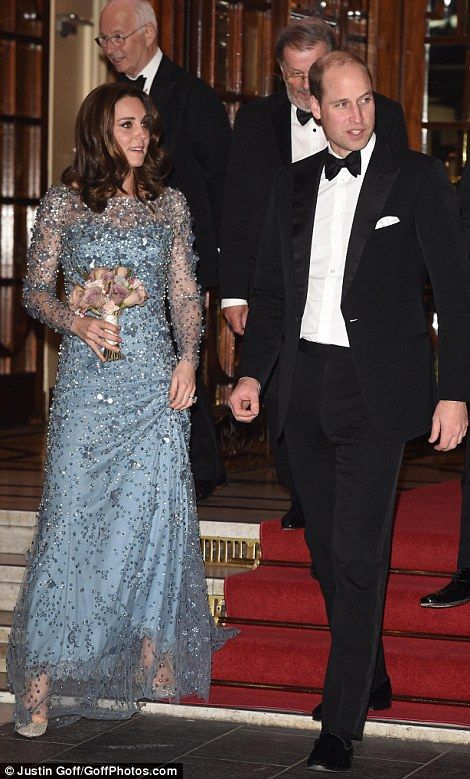 Royal exit: The Duke and Duchess of Cambridge were pictured as they left theRoyal Variety Performance show tonight