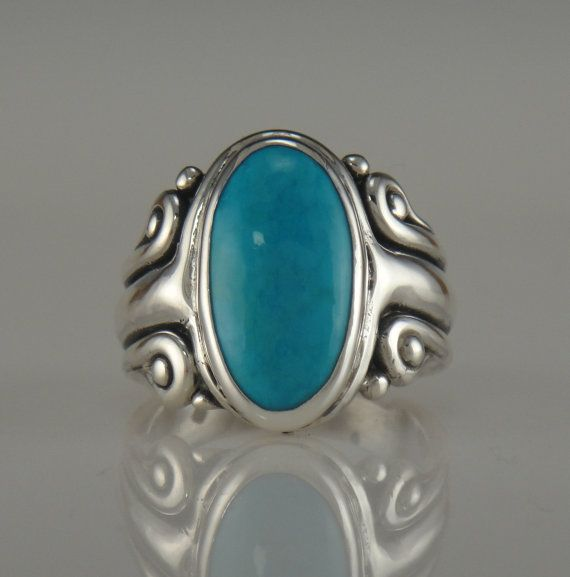 Sterling Silver Turquoise Ring One of a Kind by DenimAndDiaJewelry, $300.00