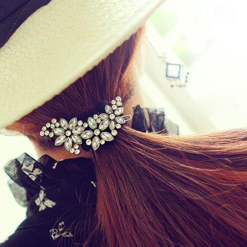Korean Elegant Women Exquisite Crystal Flower Hair Clips Barrette Hairpins