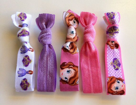 5 PACK Sofia the First Elastic Hair Ties / by OliverandMay on Etsy, $5.99