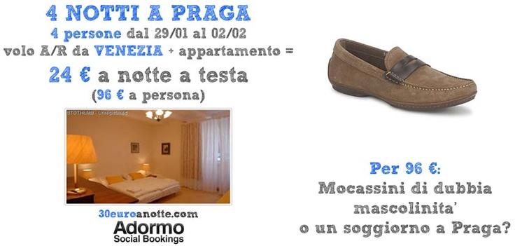 4 PERSONE A PRAGA, 4 notti dal 29/01 al 02/02, volo A/R da Venezia + appartamento: 24 € a notte a testa!