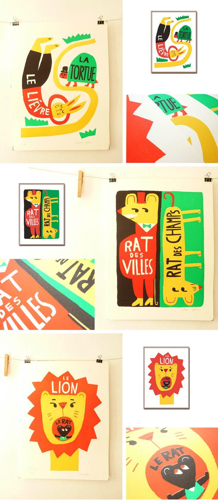Le lièvre et la tortue Rat des villes et rat des champs Le lion et le rat Lithographies sur papier BFK Rives, 310g, grain fin, blanc pur, 100% coton Editions limitées à 100 ex 30 X 40 cm  Numérotées, signées Vendues avec certificat d'authenticité