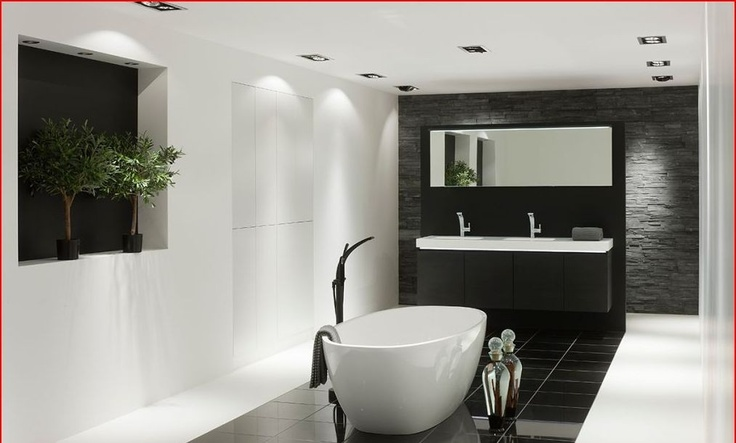 Mooie moderne wit zwarte badkamer badkamer bath room pinterest badkamer wastafel en - Mooie moderne badkamer ...