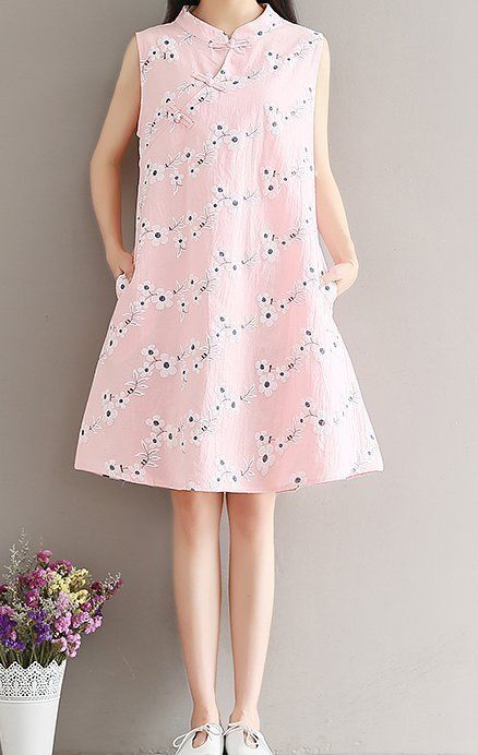 Women loose fitting over plus size cherry blossom flower dress pocket midi tunic #Unbranded #dress #Casual