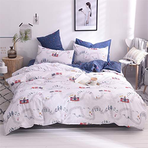 4PC Complete Reversible Duvet Quilt Cover With Fitted Sheet /& Pillowcase UK SIZE