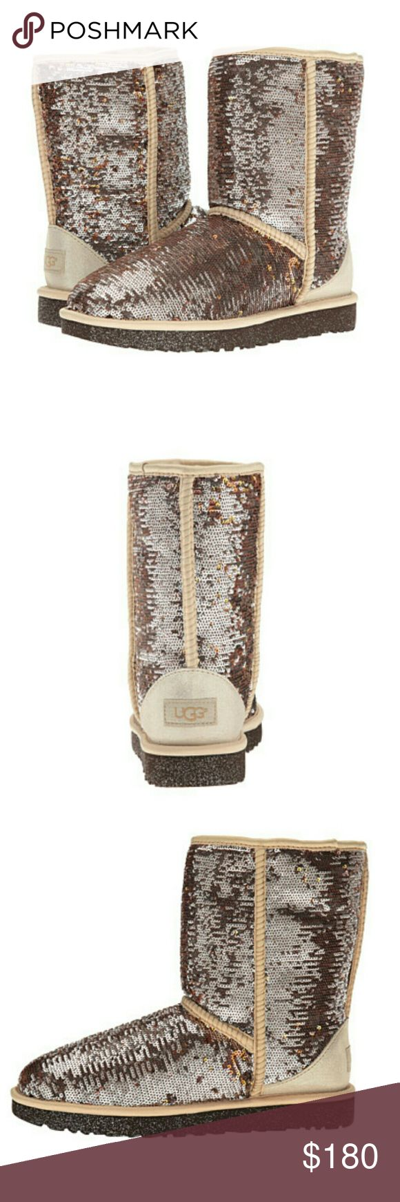NEW UGG Boots ' Classic Short Sparkles ' BRAND NEW 100% authentic pair of ' Classic Short Champagne Sparkles UGG boots.  I have sizes 5 6 7 and 8 in womens.  They are both brand new and come with the original box, wrapping paper and authenticity cards! Originally 180$.   If you have any questions please let me know thank you!     tags: boots boot bootie uggs Australia butte warm shoes youth kids 5.5 6.5 7.5 marmot adidas Canada goose Northface nike warm weather woman UGG Shoes Winter & Rain…