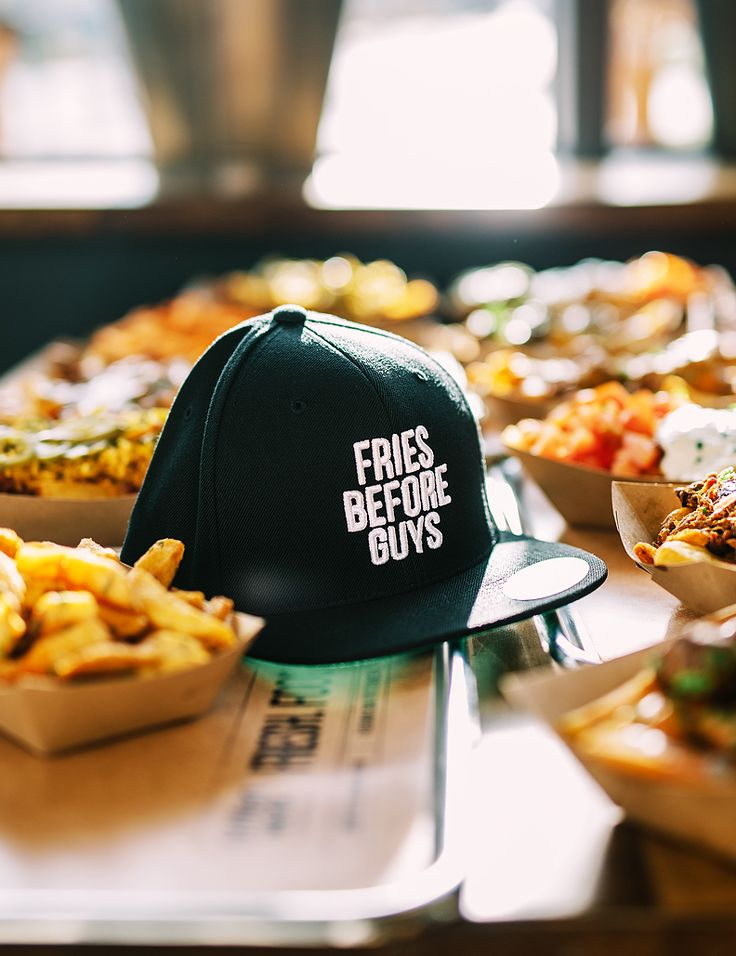 Statement cap. Fries before guys.    frittenwerk. düsseldorf. streetfood, cap, snapback, fritten, pommes, poutine. fashion. foodporn.handmade.   frittenwerk, pommes. poutine. streetfood. french fries. veggi. vegetarisch. imbiss. handmade. food. kanada. fresh.