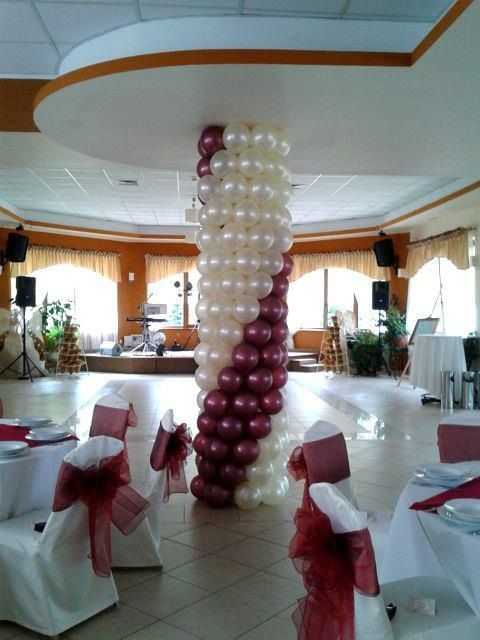 Decorating Columns Already In The Room For A Wedding