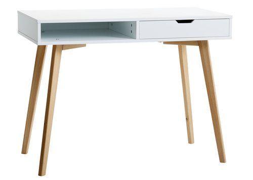 Písací stôl TAMHOLT 1 zásuvka biela/dub | JYSK